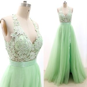Halter V Neck Pageant Prom Gown Formal Evening